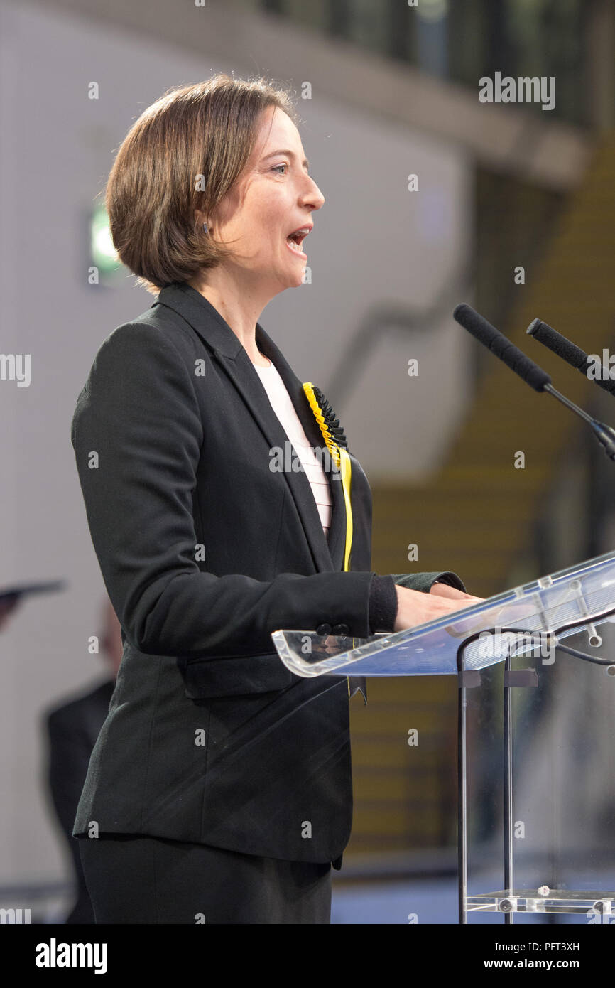 Carol Monaghan SNP Glasgow North West candidate wins, UK Parliamentary Elections, Emirates Sir Chris Hoy Stadium Glasgow, 9th June 2017 - Stock Image