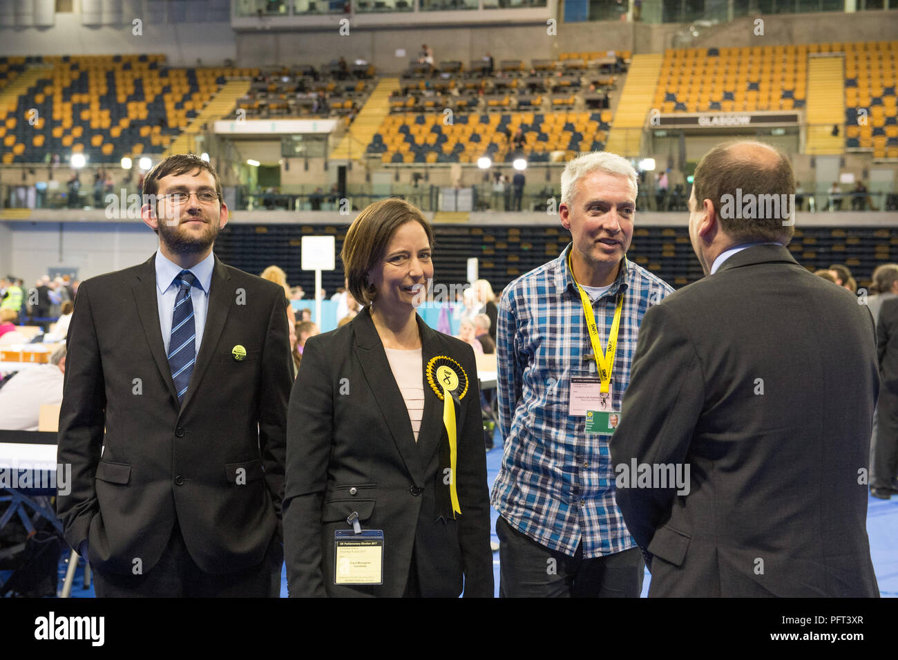 SNP canditate Carol Monaghan (L-R) Malcolm Mitchell - Campaign Manager, Carol Monaghan - Glasgow North West candidate, Feargal Dalton - Carol's Husban - Stock Image