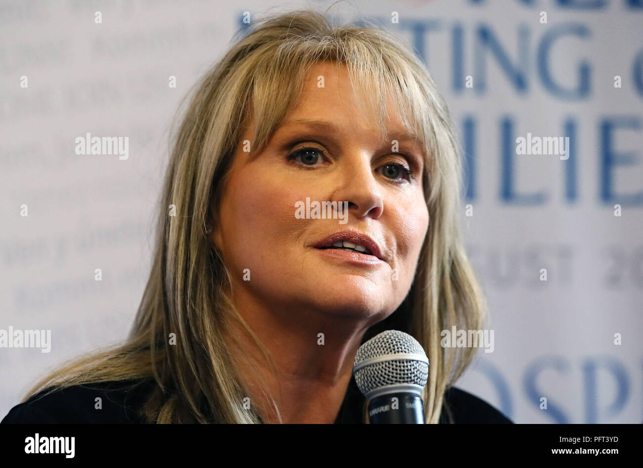 Dr Mary Aiken, Adjunct Associate Professor at University College Dublin, Geary Institute for Public Policy, and an Academic Advisor to the European Cyber Crime Centre at Europol, during a press conference at Dublin's RDS during the World Meeting of Families. - Stock Image