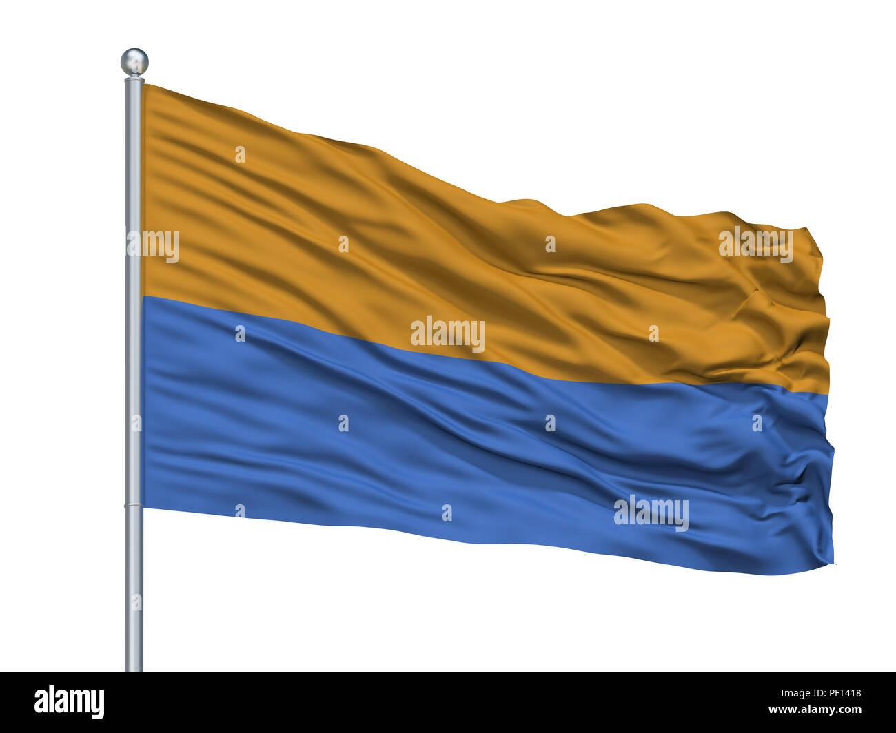 Carrefour City Flag On Flagpole, Haiti, Isolated On White Background - Stock Image