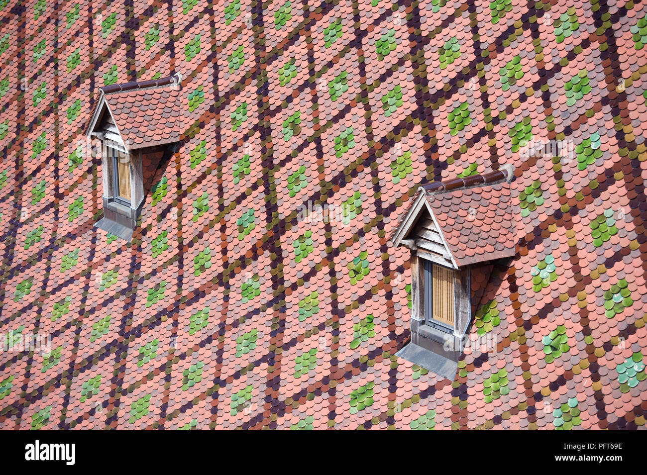 France, Besancon, Palais Granvelle, toit bourguignon roof and dormer windows, close-up - Stock Image
