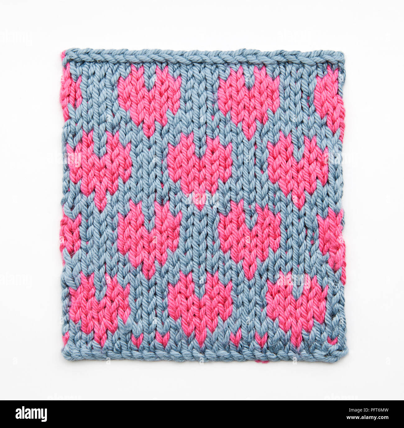 Knitted Heart Pattern Using Fair Isle Technique Stock Photo