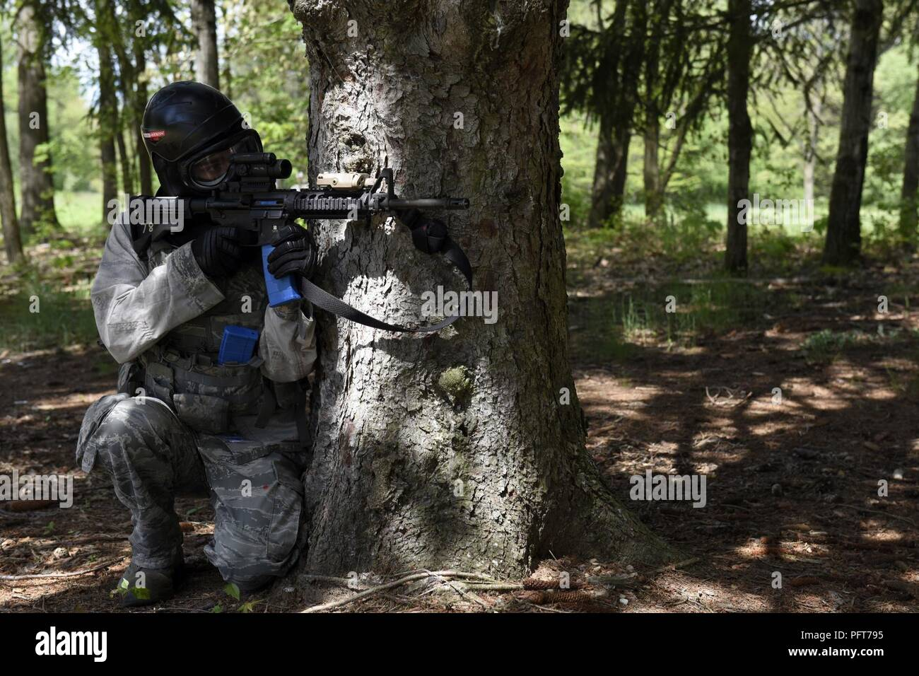 A U S  Air Force security forces specialist assigned to the
