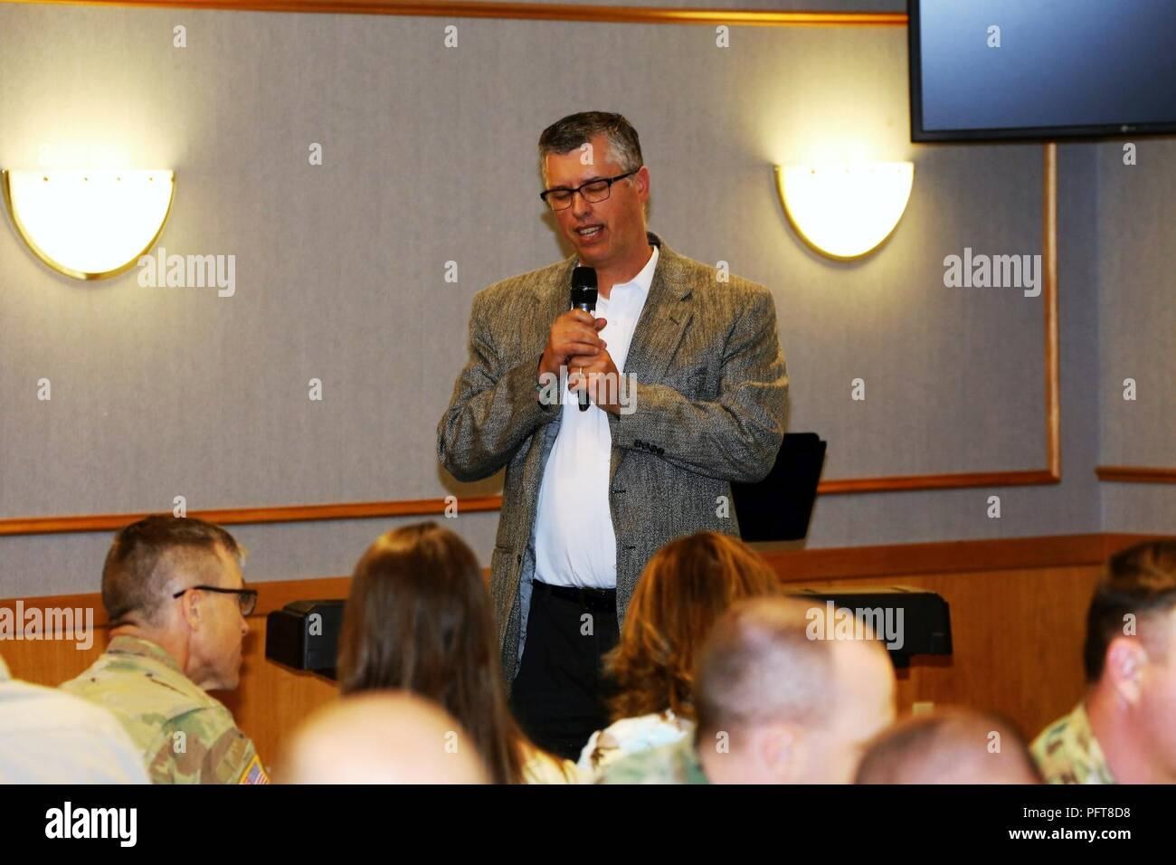 Pastor Brian Young Pastor With The Faith Evangelical Free Church In Sparta Wis Recites A Prayer For Police Officers And Firefighters During The Memorial Day Prayer Luncheon On May 24 2018 At