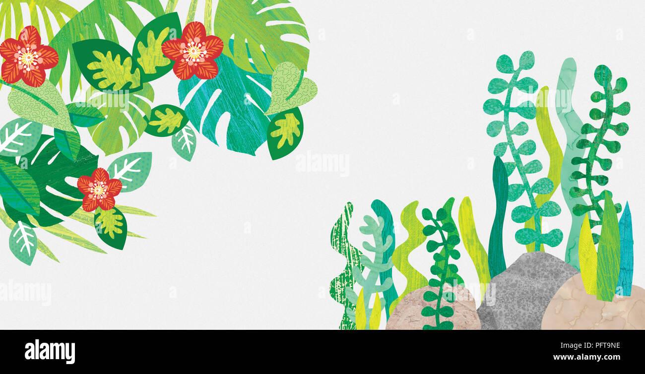 Illustration, Flower and leaves border - Stock Image
