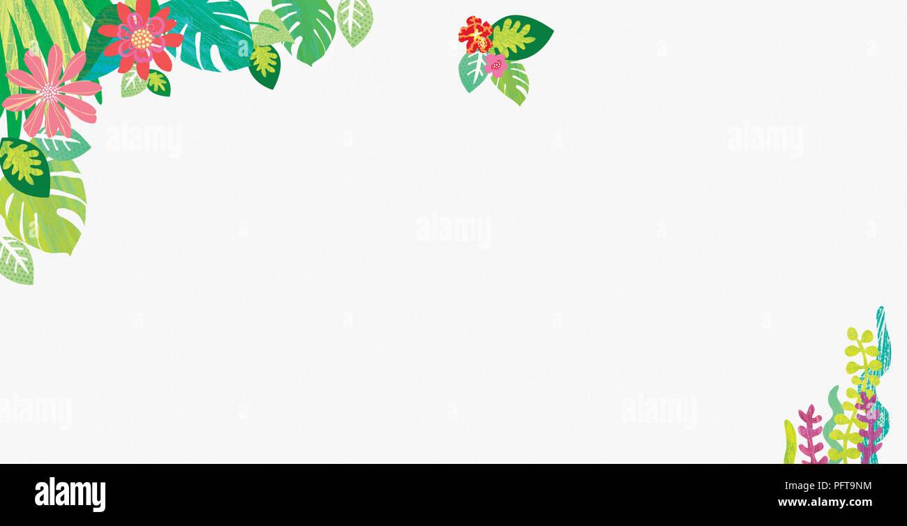 Illustration, Flower and leaf border - Stock Image