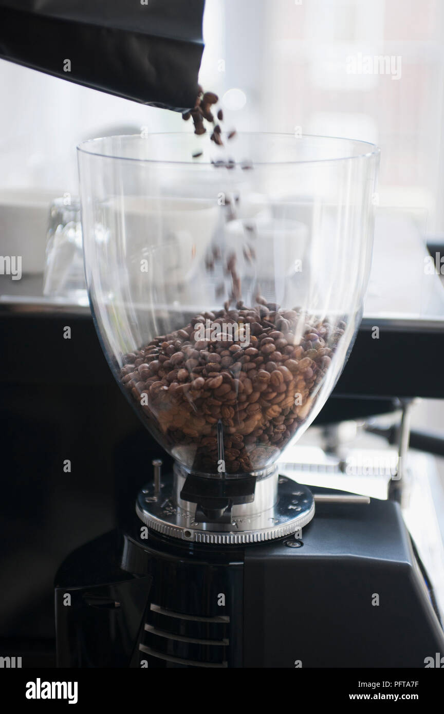 Filling an espresso machine with coffee beans - Stock Image