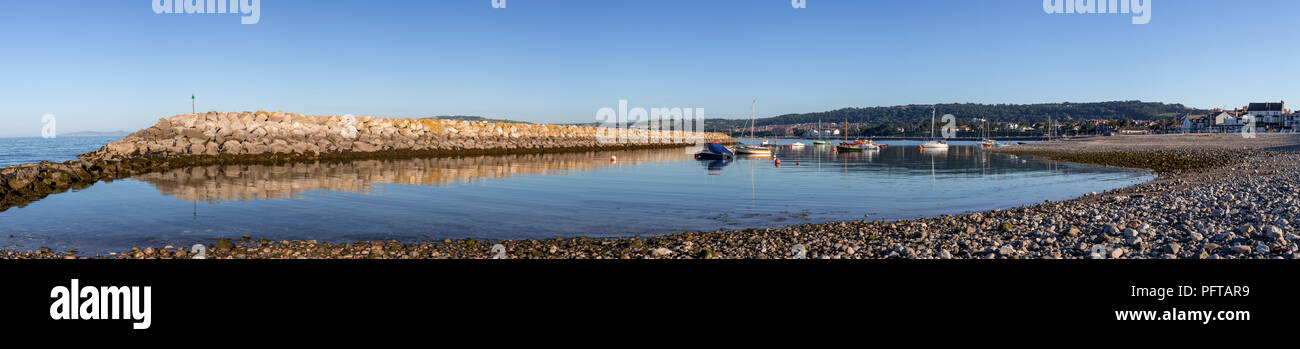 Small boats in Rhos-on-Sea harbour on the North Wales coast - Stock Image