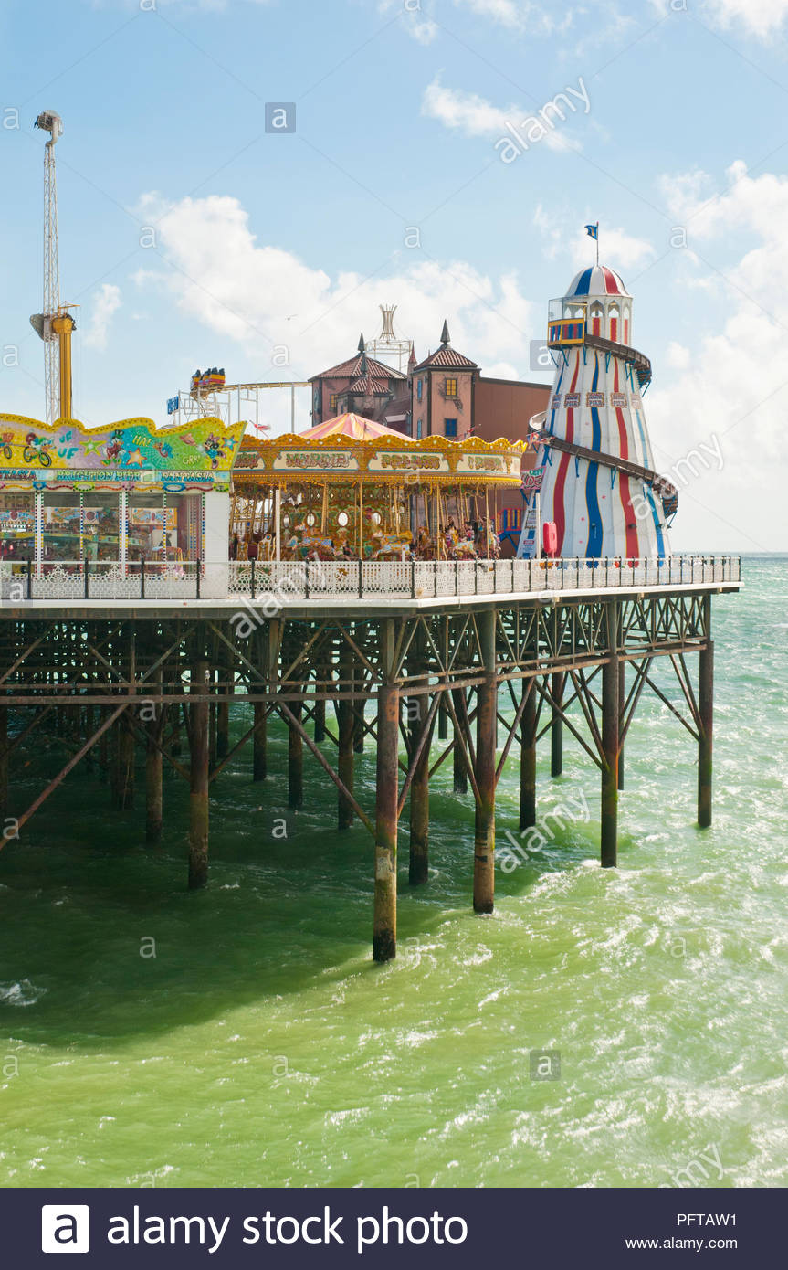 Fairground on Brighton Pier, Sussex, England - Stock Image