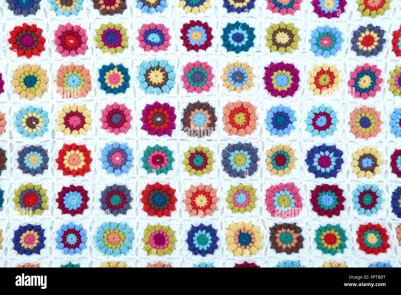 Crocheted Granny Square Blanket With Flowers Stock Photo Alamy