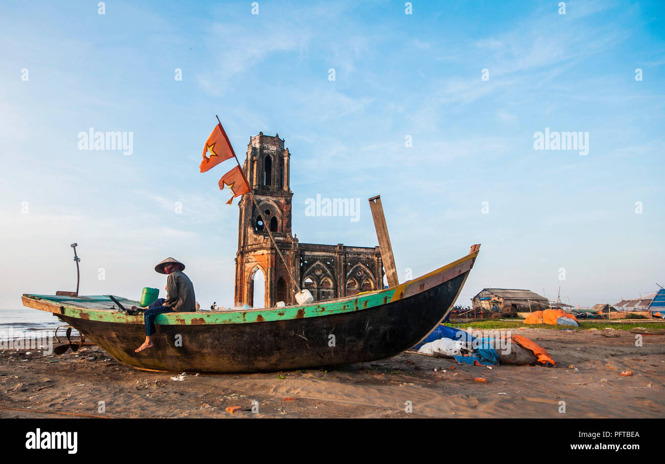 Broken cathedral near the beach in Nam Dinh, Viet Nam - Stock Image