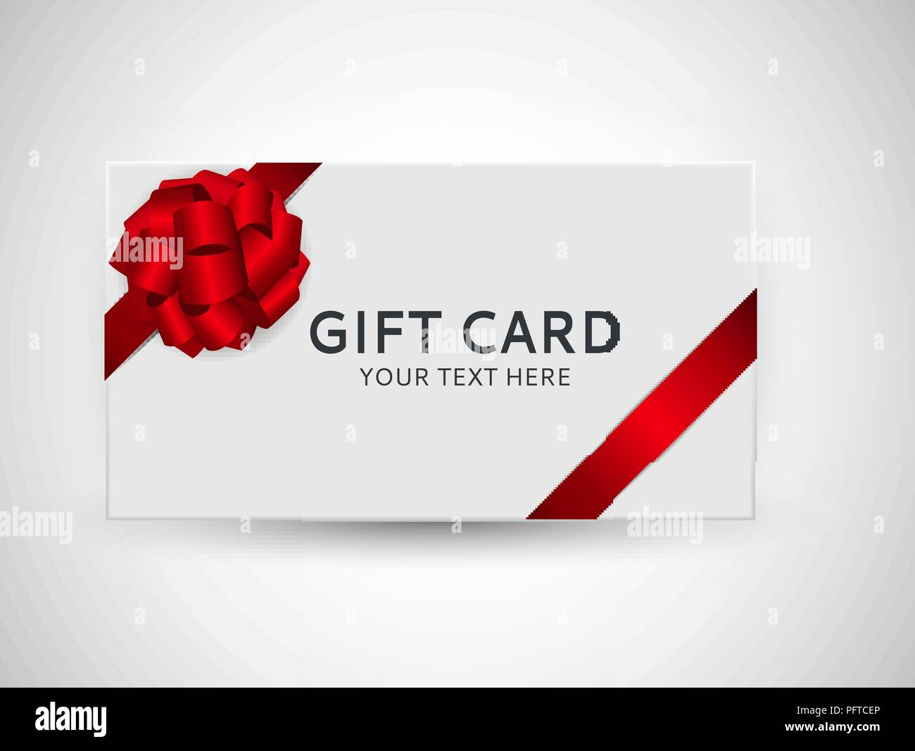 Gift Card Template With Bow And Ribbon Vector Illustration