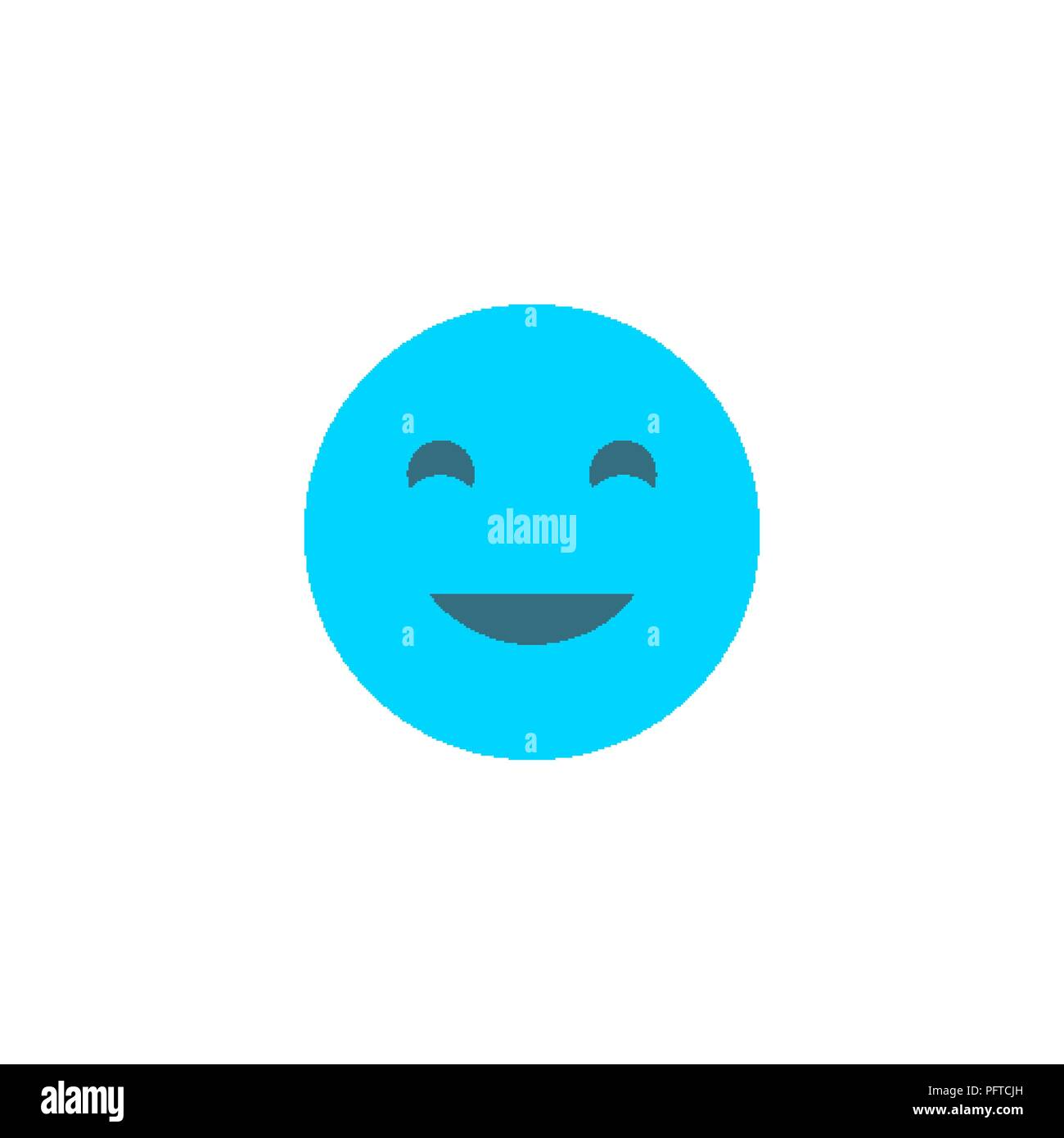Happy Emoji Anthropomorphic Face Blue Smile Isolated On A White
