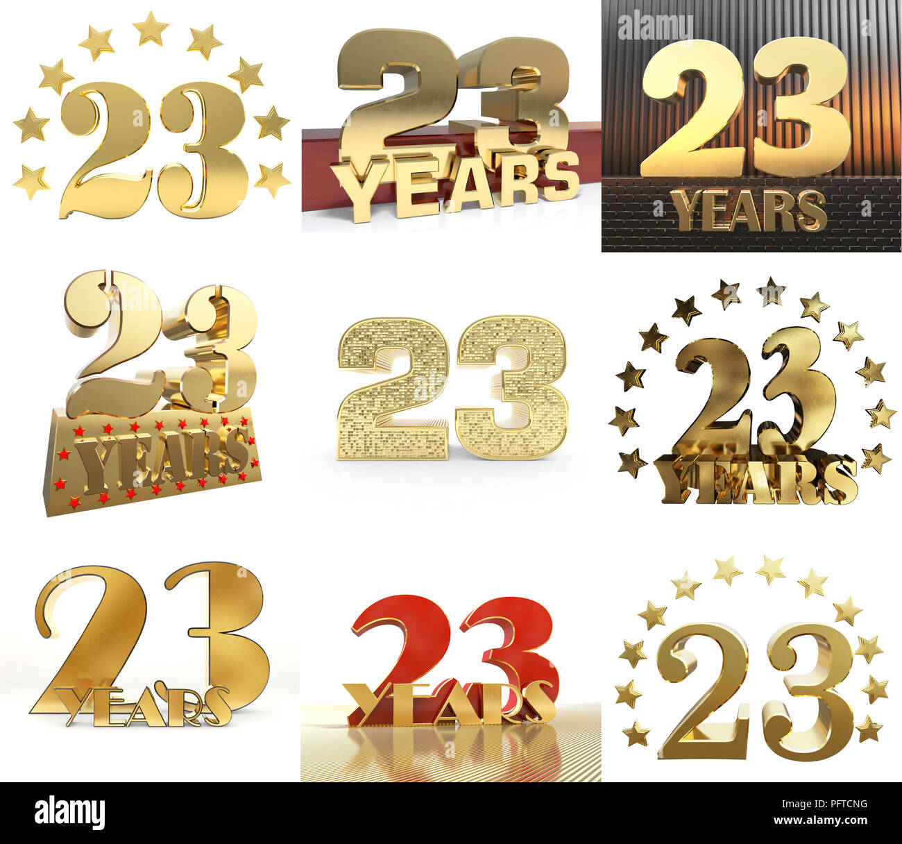 Set of number twenty three year 23 year celebration design set of number twenty three year 23 year celebration design anniversary golden number template elements for your birthday party 3d illustration maxwellsz