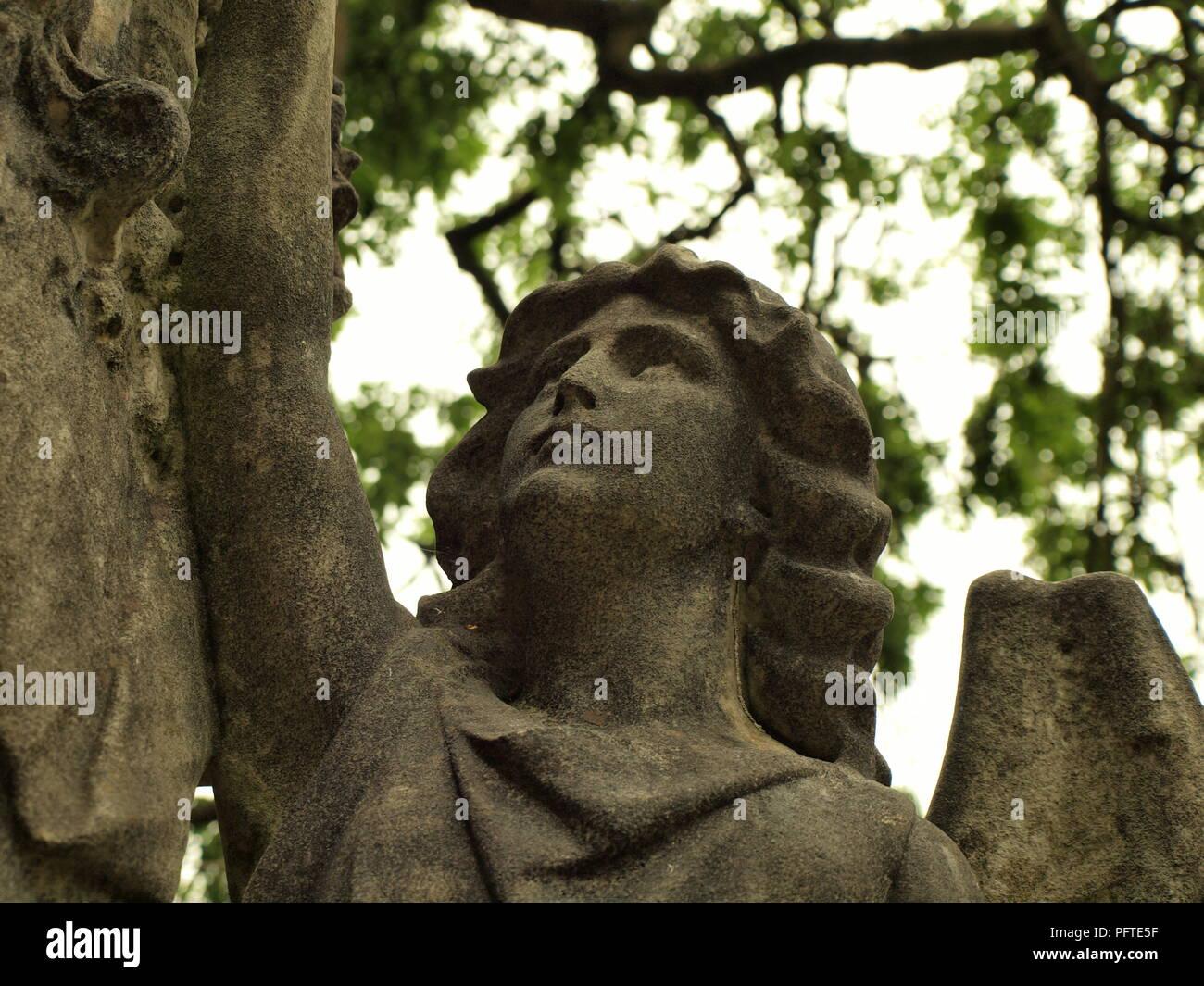 Stone angel statue - Stock Image