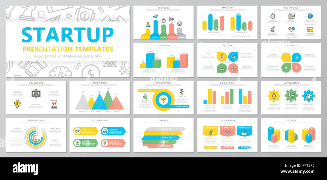 Set of startup and business elements for multipurpose presentation template slides with graphs and charts. Leaflet, corporate report, marketing, advertising, book cover design. - Stock Image