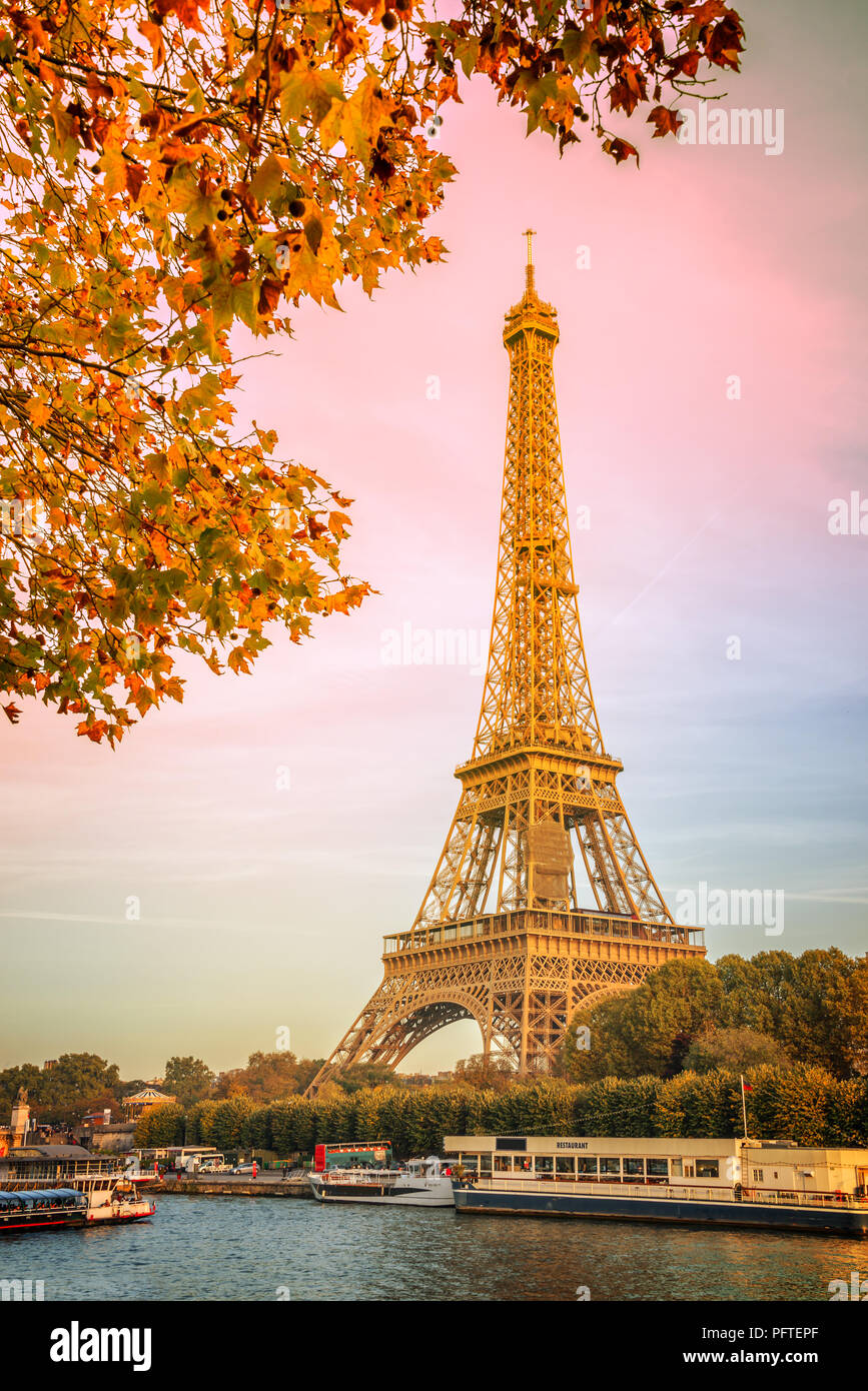 Eiffel tower and the river Seine, yellow automnal trees, Paris France - Stock Image