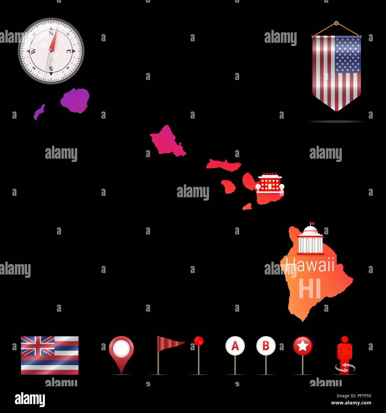 Hawaii Vector Map Night View Compass Icon Map Navigation Elements - Us-map-night