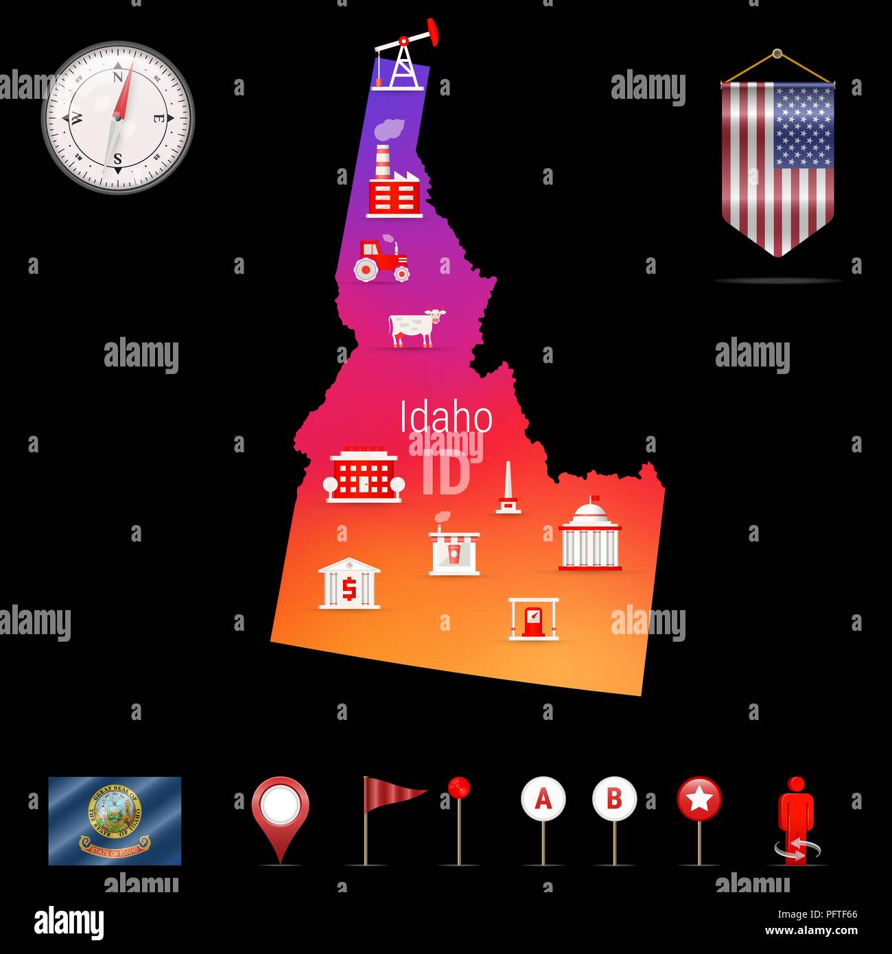 Idaho Vector Map, Night View. Compass Icon, Map Navigation Elements. Pennant Flag of the United States. Vector Flag of Idaho. Various Industries, Economic Geography Icons. - Stock Vector