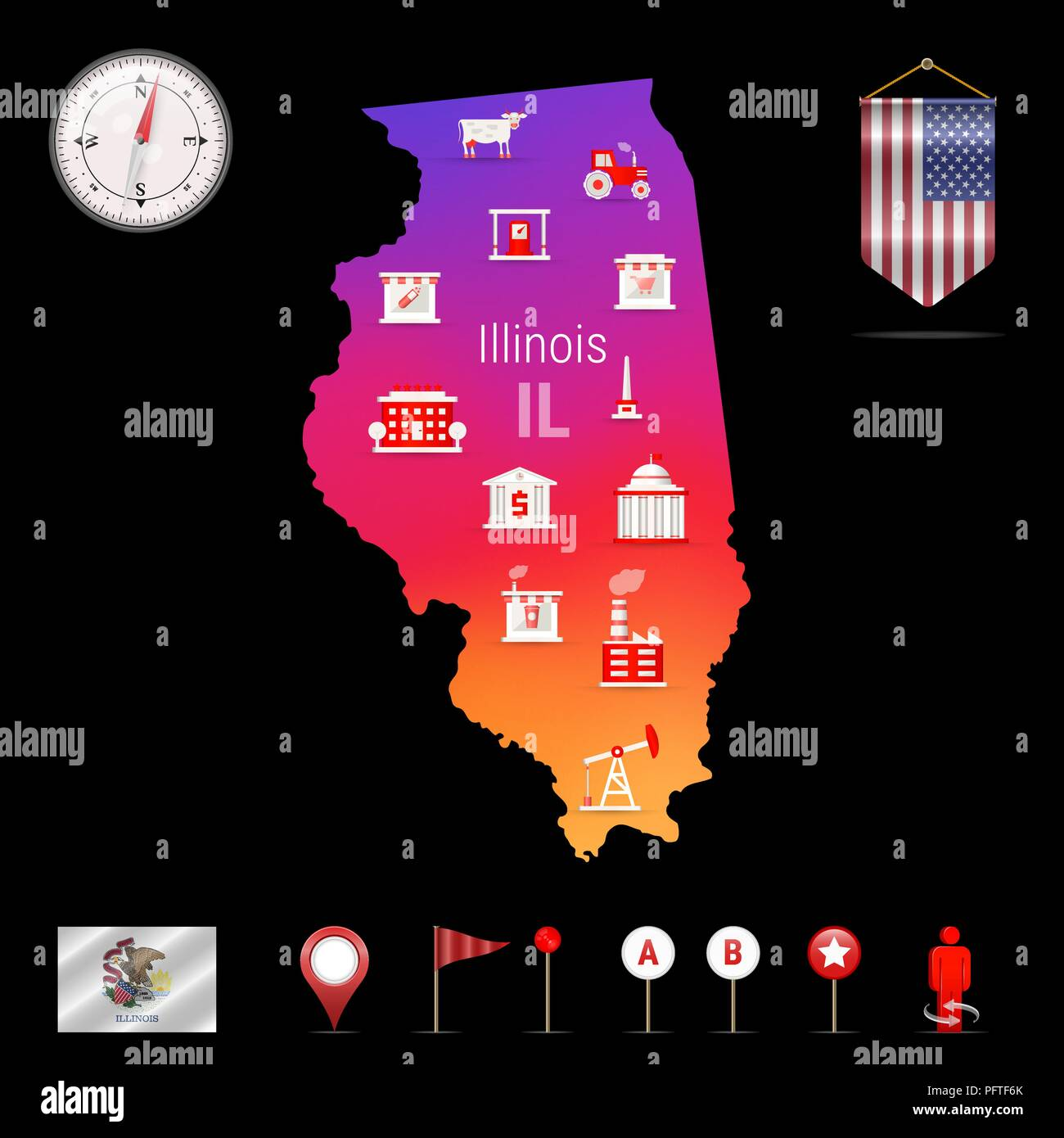 Illinois Vector Map, Night View. Compass Icon, Map Navigation Elements. Pennant Flag of the United States. Vector Flag of Illinois. Various Industries, Economic Geography Icons. - Stock Vector
