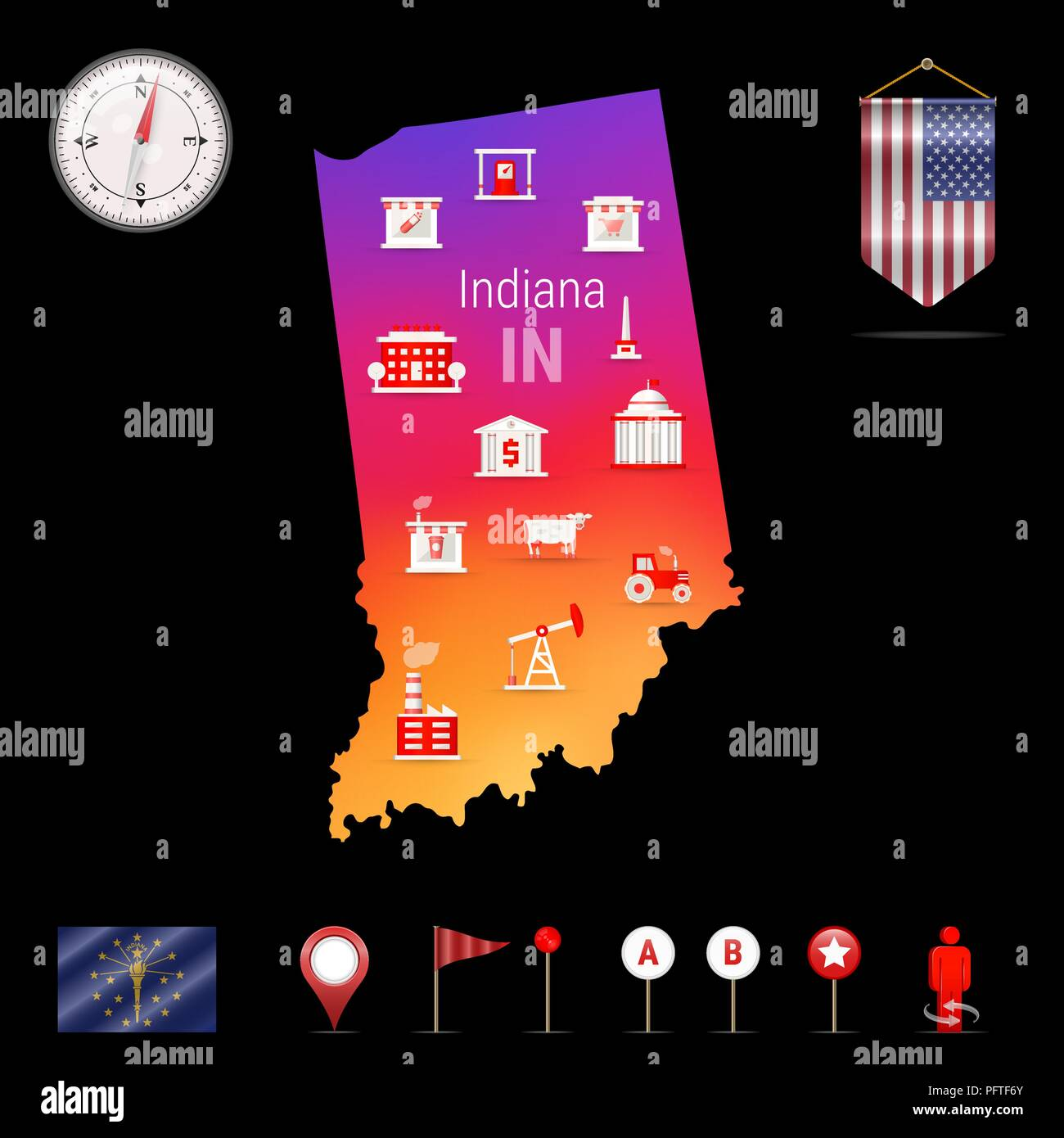 Indiana Vector Map, Night View. Compass Icon, Map Navigation Elements. Pennant Flag of the United States. Vector Flag of Indiana. Various Industries, Economic Geography Icons. - Stock Vector
