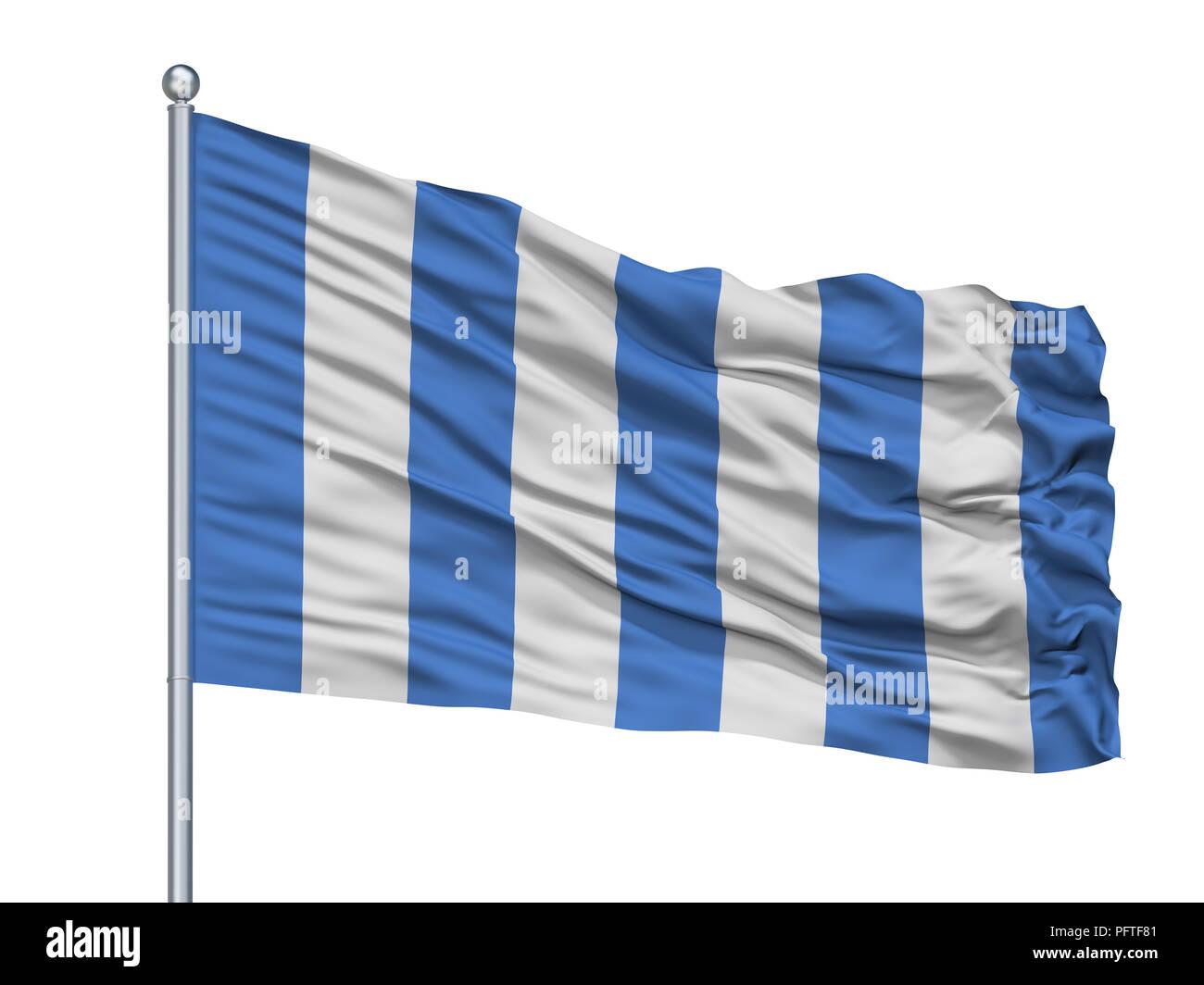 Mar Del Plata City Flag On Flagpole, Argentina, Isolated On White Background - Stock Image
