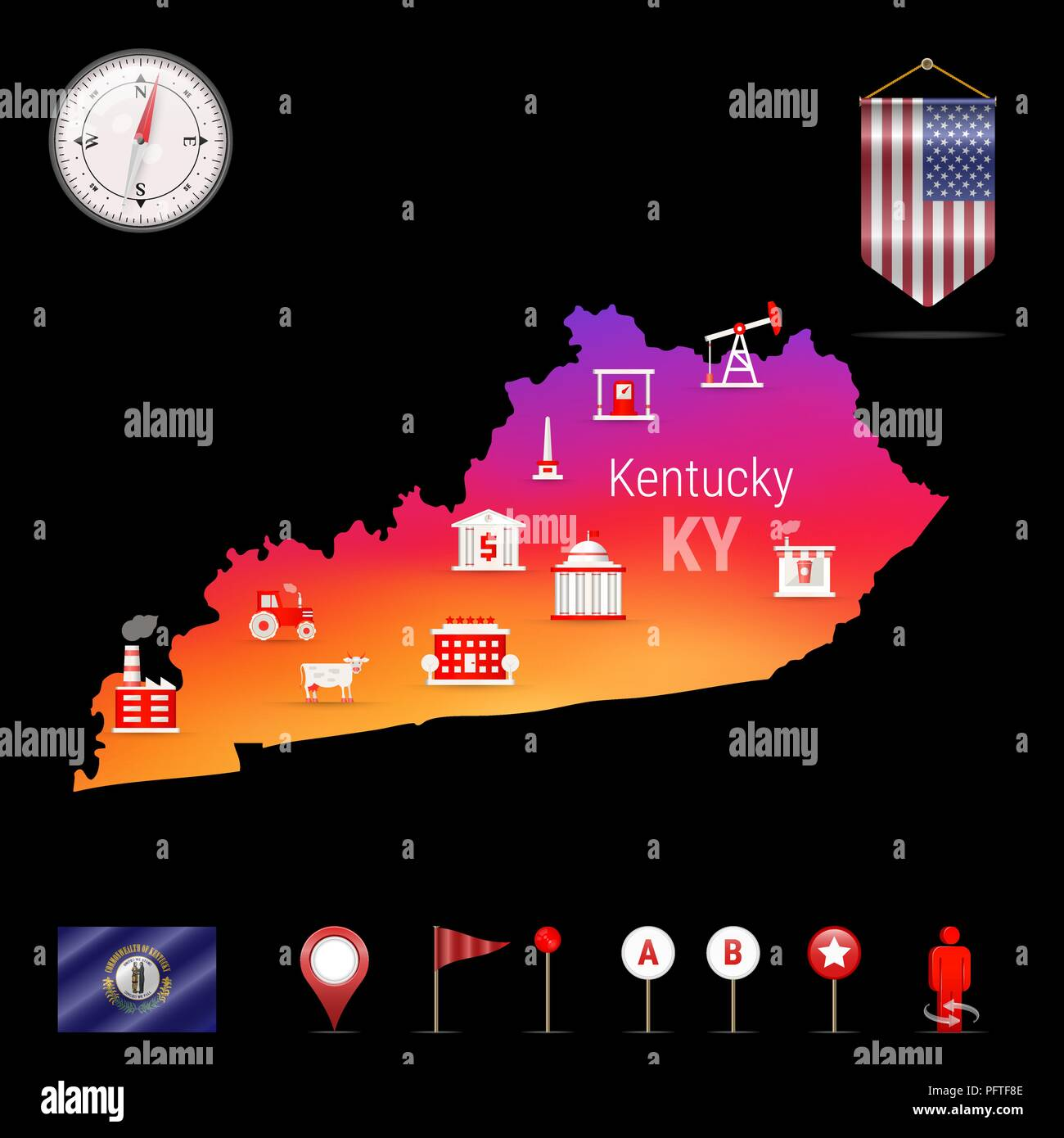 Kentucky Vector Map, Night View. Compass Icon, Map Navigation ...
