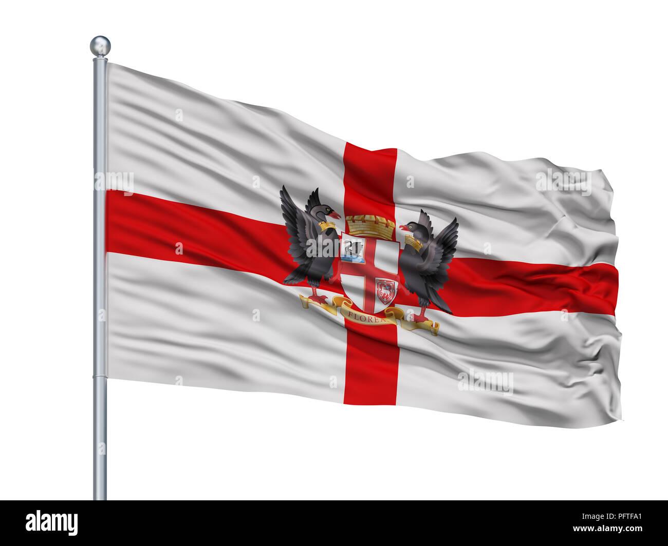 Perth City Flag On Flagpole, Australia, Isolated On White Background - Stock Image