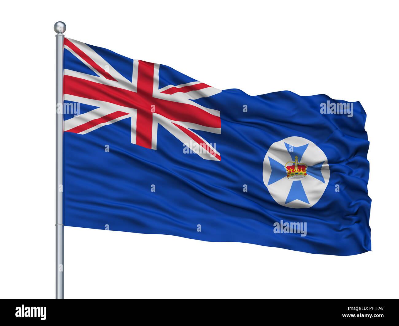 Queensland City Flag On Flagpole, Australia, Isolated On White Background - Stock Image