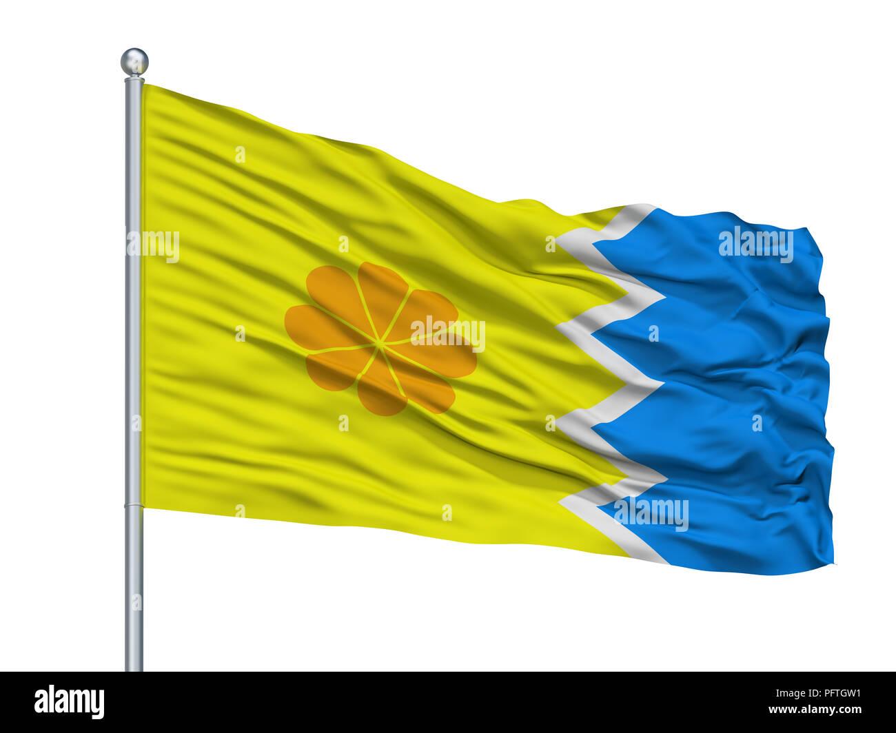 Vina Del Mar City Flag On Flagpole, Chile, Isolated On White Background - Stock Image