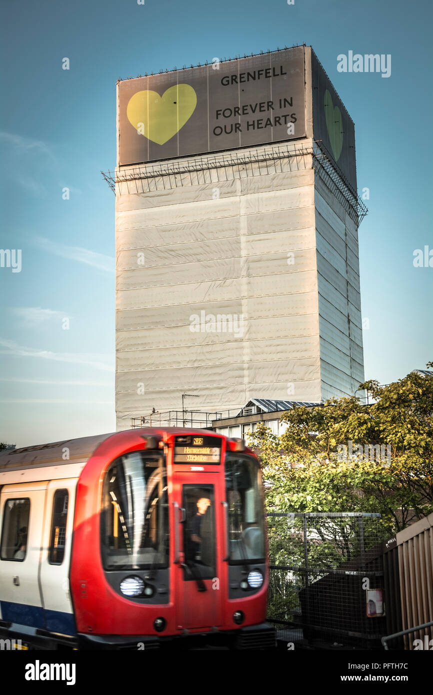 Grenfell Tower a 24-storey block of flats in North Kensington, West London, United Kingdom. - Stock Image