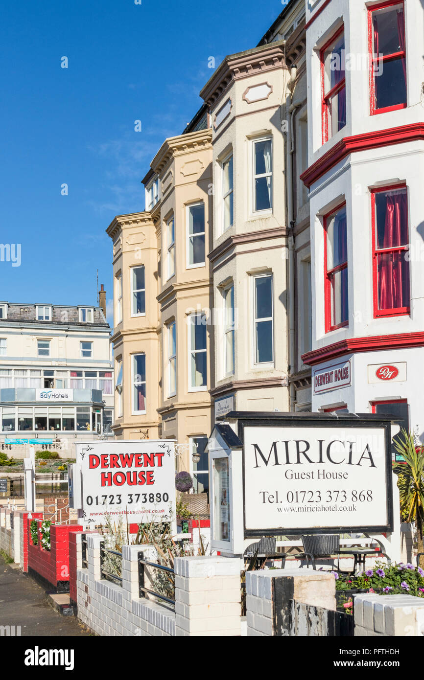 scarborough guest houses and bed and breakfast b&b apartments Rutland Terrace Queen's Parade Scarborough uk yorkshire england gb uk europe - Stock Image