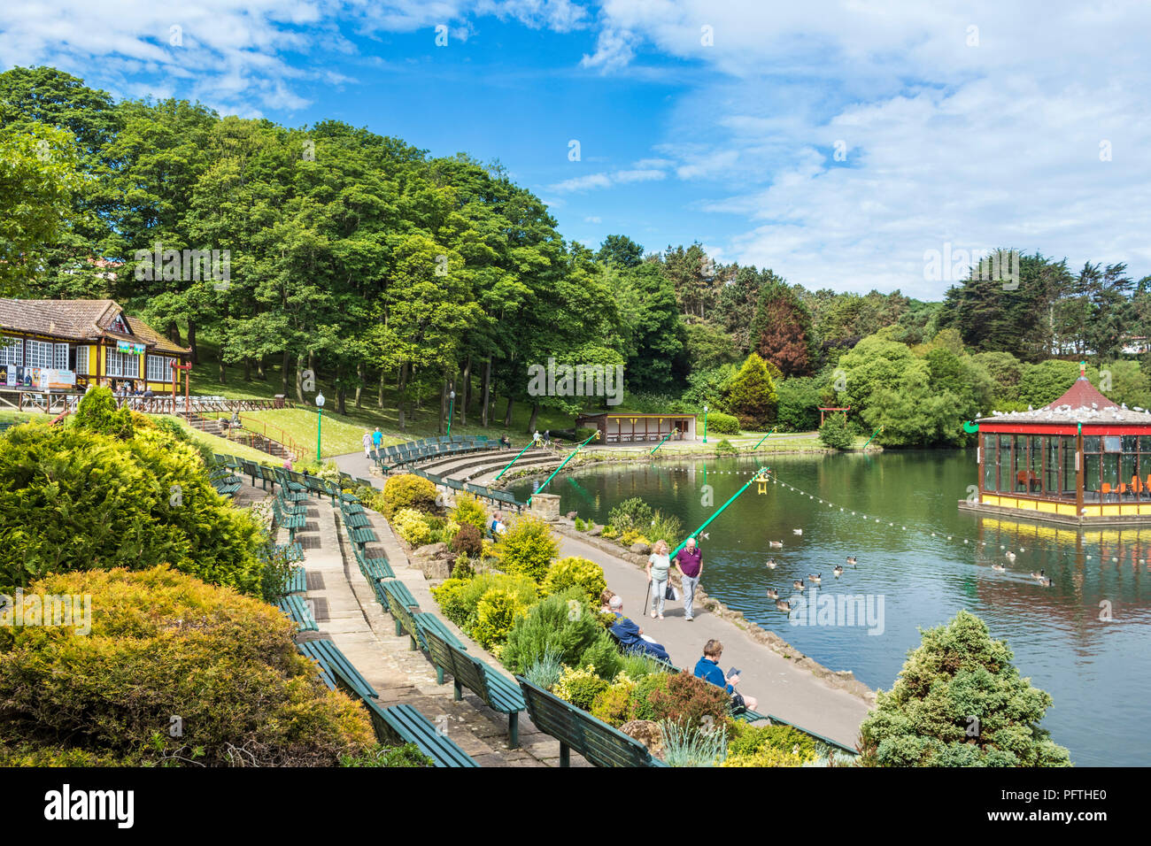 Peasholm park Scarborough uk with bandstand in the lake Scarborough yorkshire england uk gb europe - Stock Image