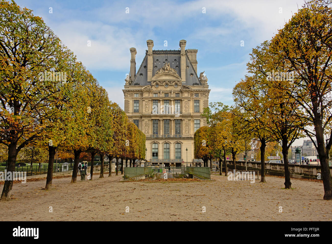 View from Tuileries park on the building of Ecole de Louvre, Paris, France - Stock Image
