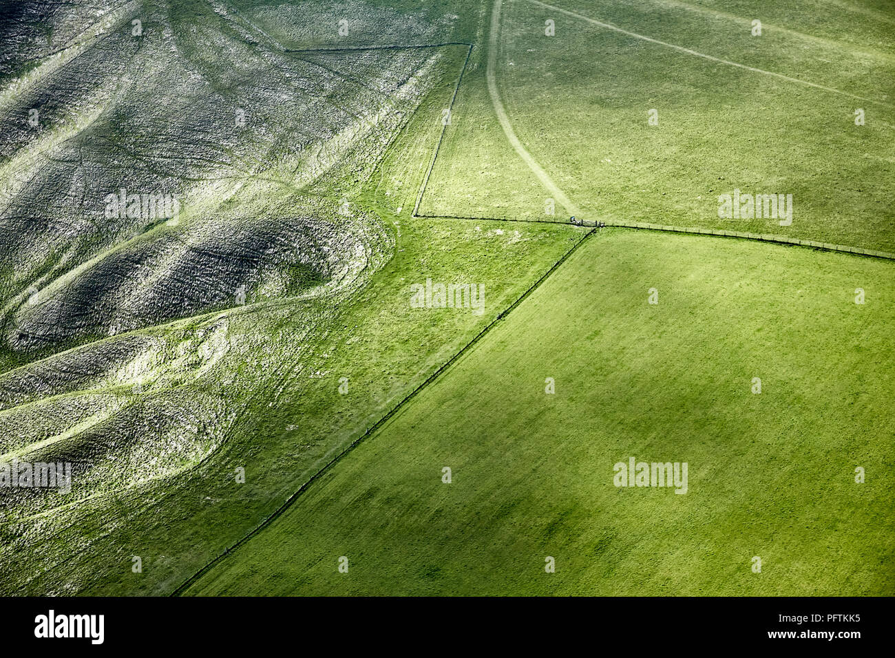 Aerial of escarpment on North Wessex Downs - Stock Image