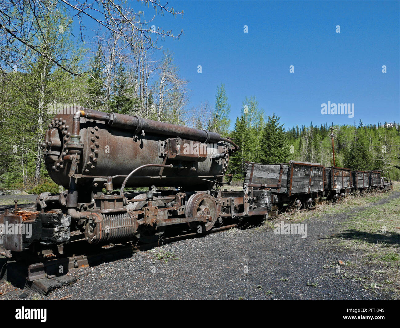 Abandoned Old Locomotive Engine. Lower Bankhead, Alberta, Canada - Stock Image