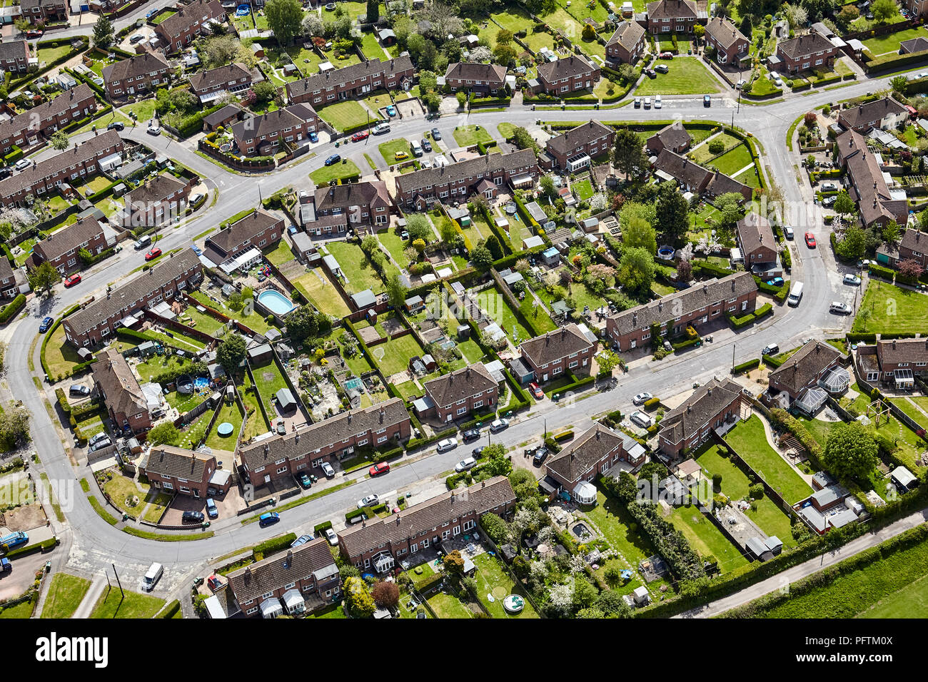 Aerial view of small estate showing road layout example of town planning Stock Photo