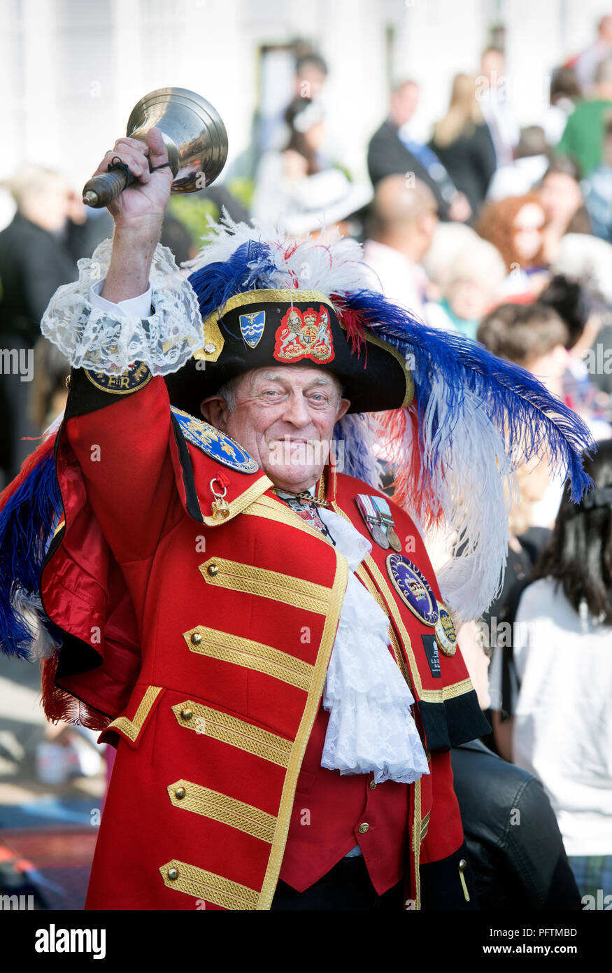 The town crier Tony Appleton (officially of Romford in Essex) in Windsor on the day of the wedding of Prince Harry & Meghan Markle - Stock Image
