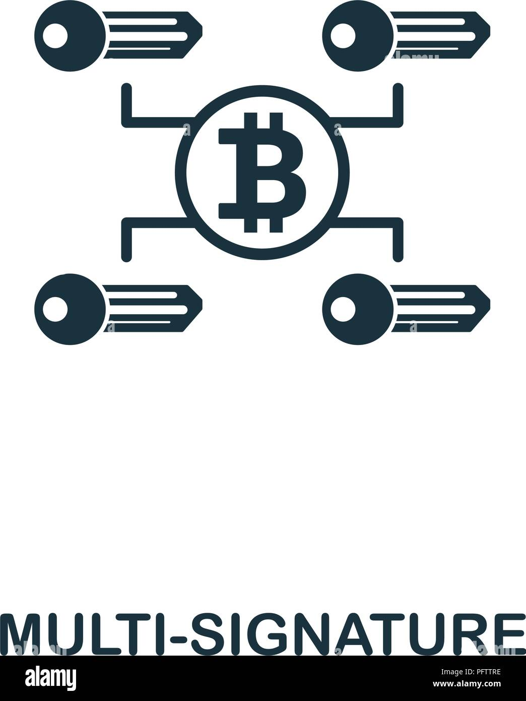 Multi-Signature icon. Monochrome style design from crypto currency collection. UI. Pixel perfect simple pictogram multi-signature icon. Web design, ap - Stock Vector