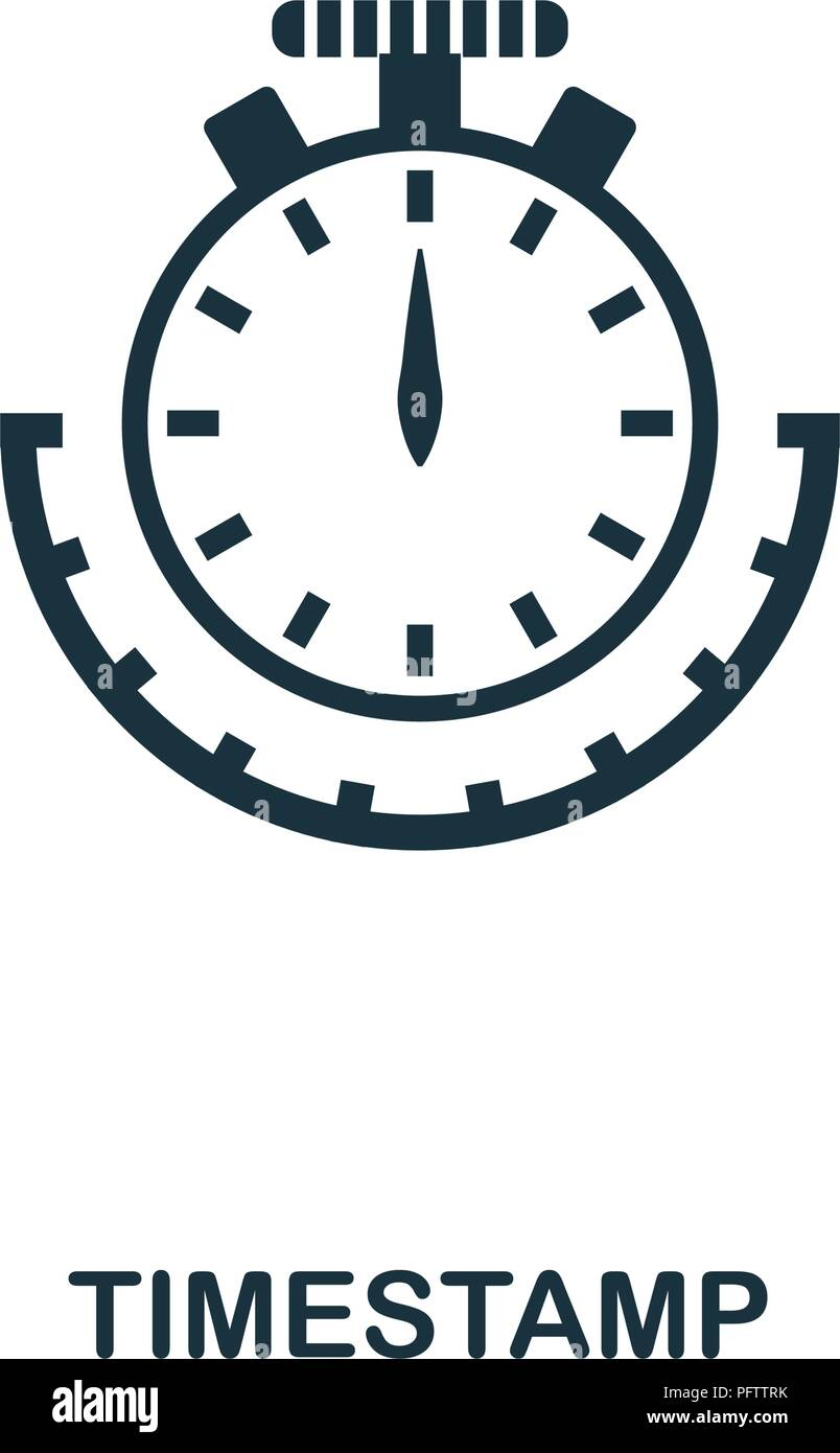 Timestamp icon. Monochrome style design from crypto currency collection. UI. Pixel perfect simple pictogram timestamp icon. Web design, apps, software - Stock Vector