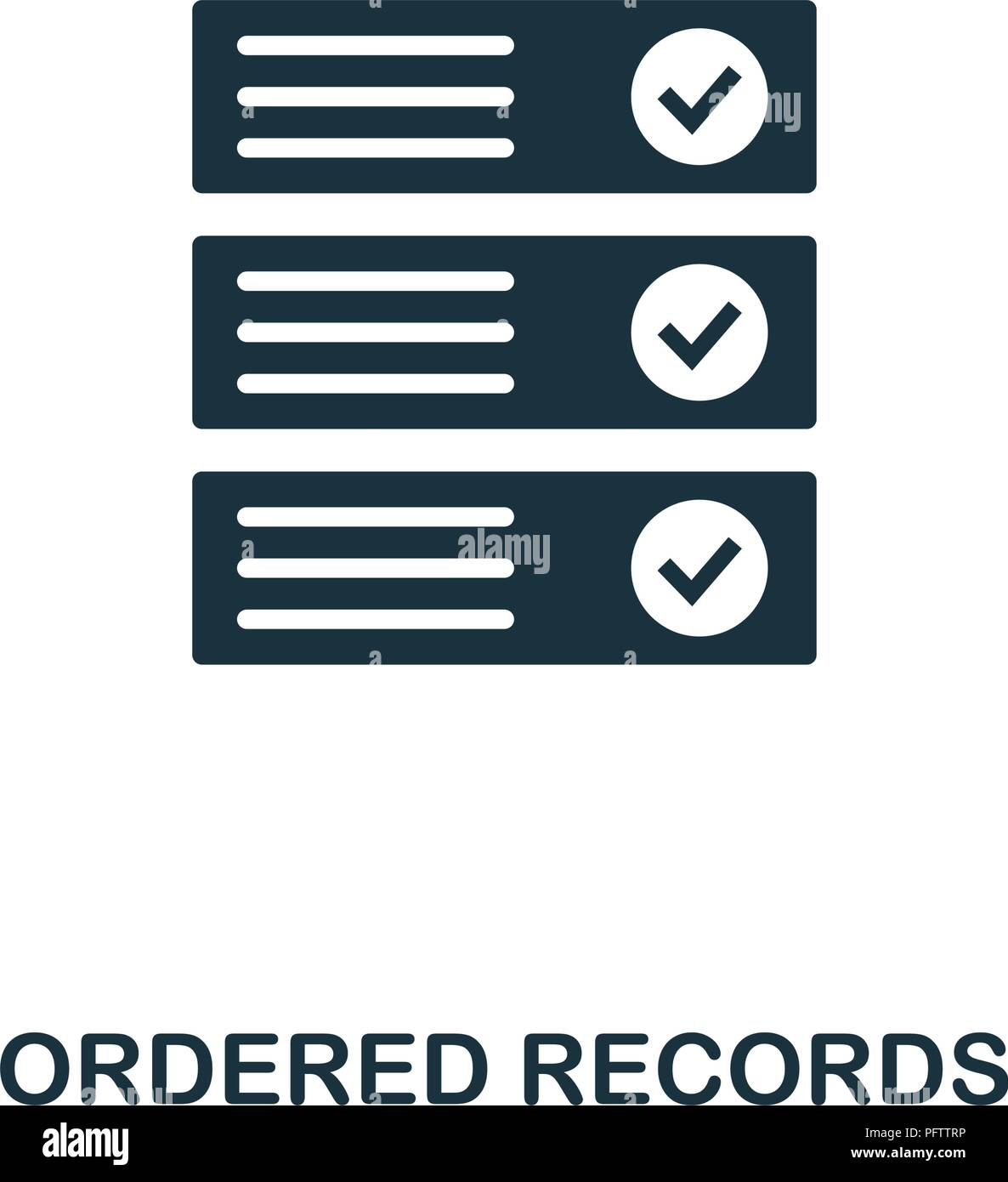 Ordered Records icon. Monochrome style design from crypto currency collection. UI. Pixel perfect simple pictogram ordered records icon. Web design, ap - Stock Vector