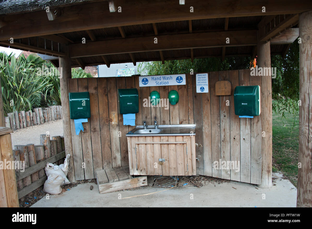 Washing and paper towels are provided at the Yorkshire Wildlife Park, Doncaster, South Yorkshire UK - Stock Image