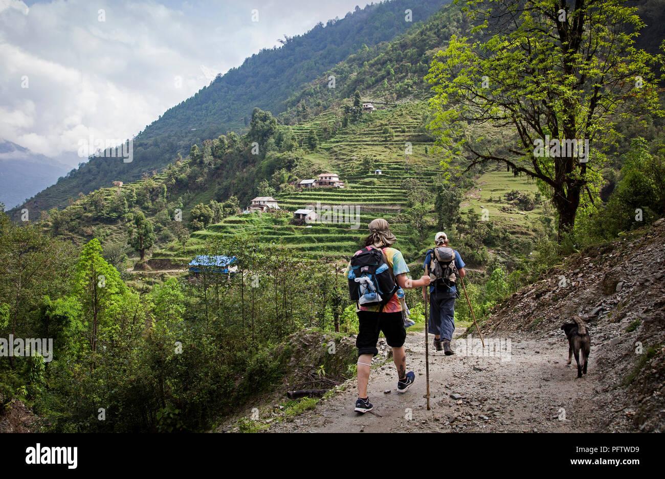 Mountaineers in Landruk. Annapurna trekking Nepal - Stock Image