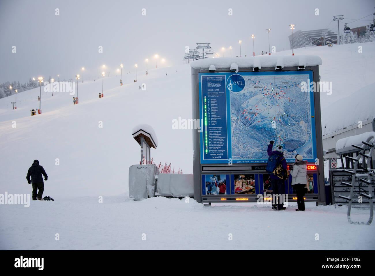 The ski resort at Levi in Lapland Norway - Stock Image