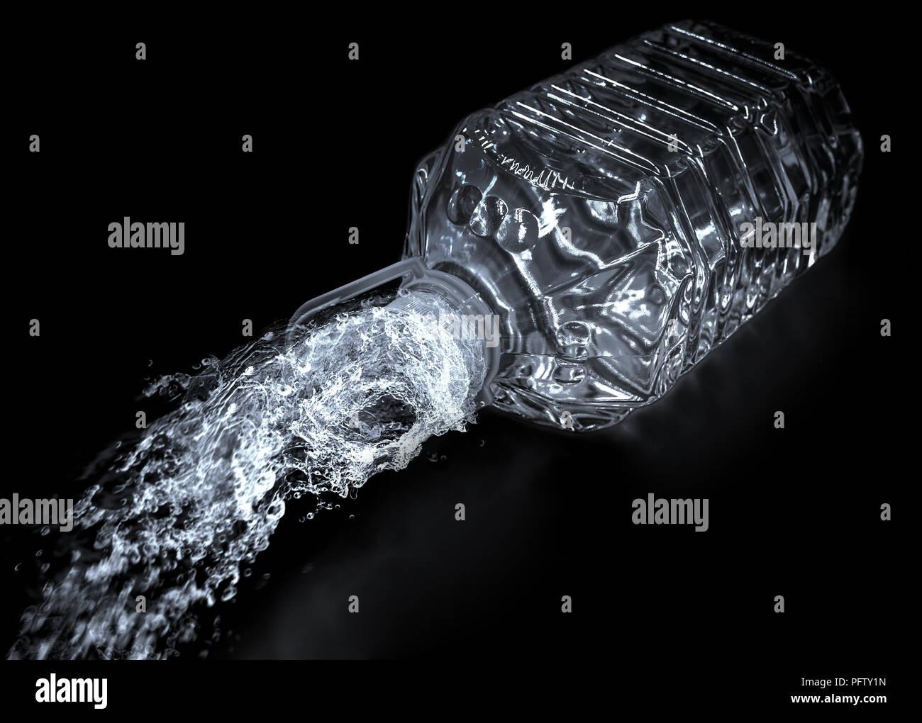 opened bottled water in dark - Stock Image