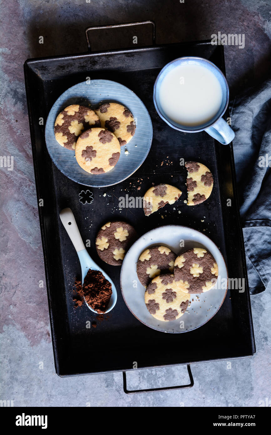Cocoa and vanilla bicolor cookies with four leaf clover decoration - Stock Image