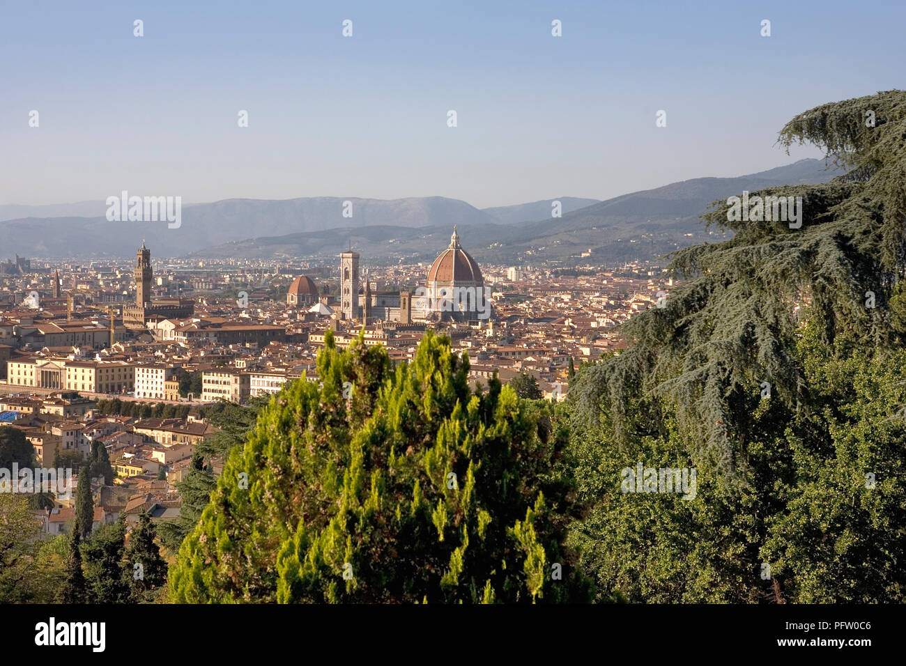 The Florence skyline, dominated by the Torre d'Arnolfo and the Campanile and dome of the Duomo, from San Miniato al Monte, Florence, Tuscany, Italy - Stock Image