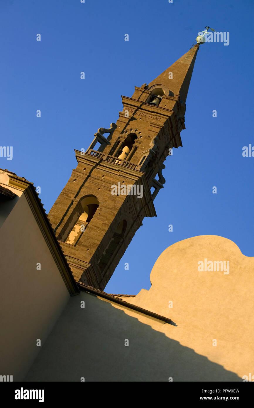 Steeple of the Basilica of Santa Maria del Santo Spirito, Oltrarno, Florence, Tuscany, Italy - Stock Image