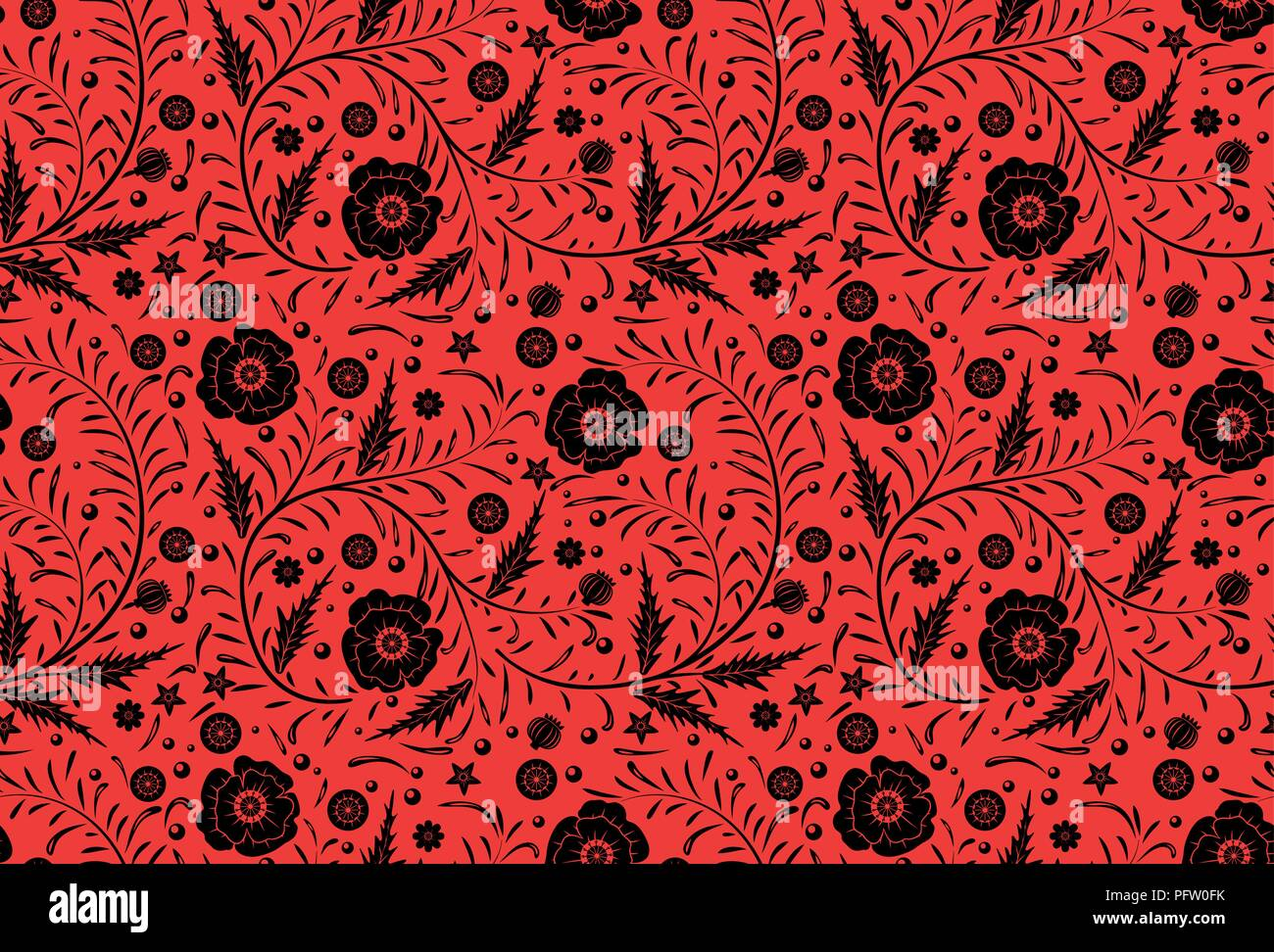 Vector Seamless floral pattern design hand drawn: Black poppies with vintage leaves on a red background. National style - Stock Vector