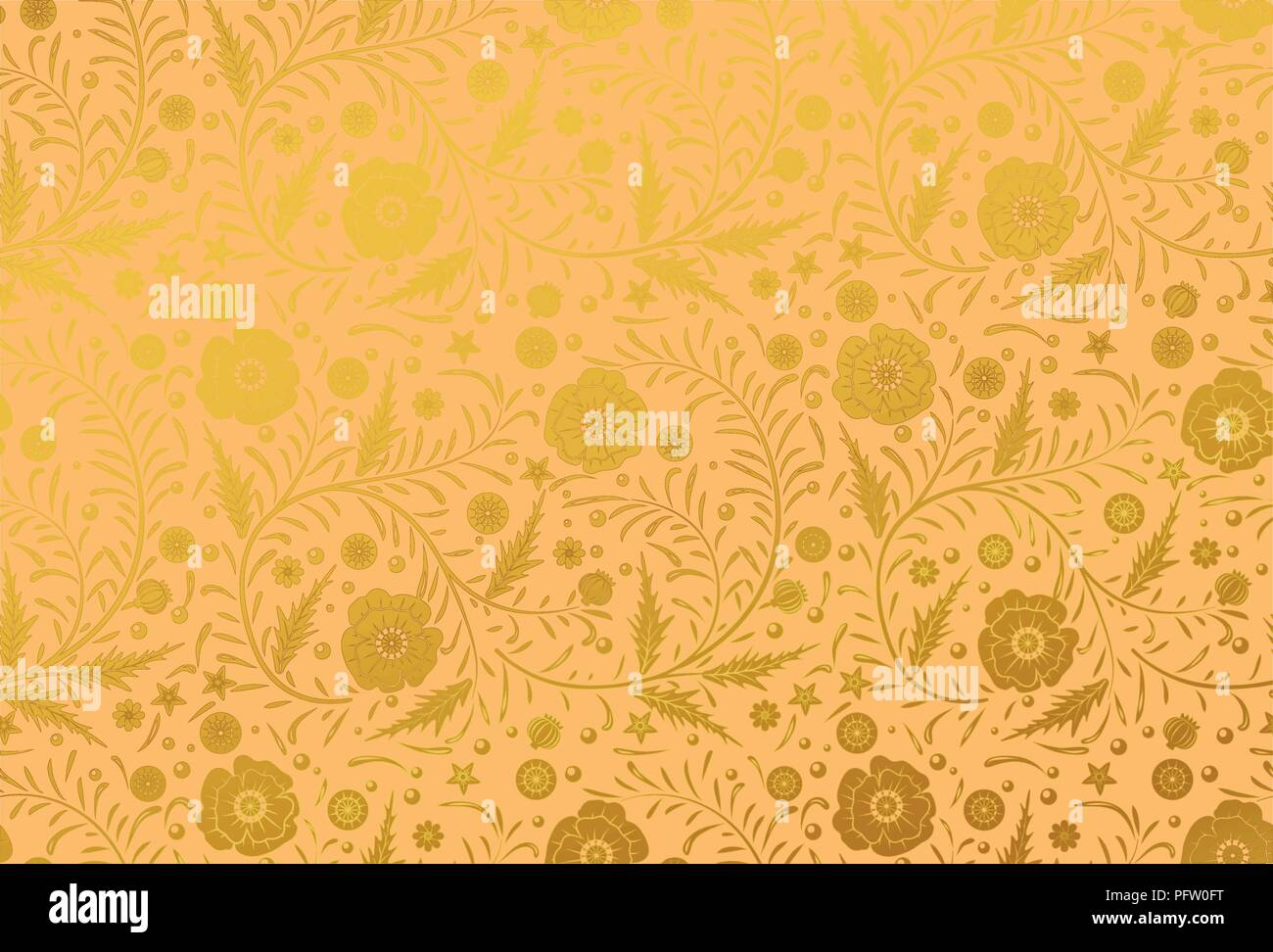 Vector Seamless floral pattern design hand drawn: Golden poppies with vintage leaves on a golden background. Royal luxury - Stock Vector